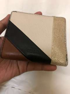 Fossil RFID Wallet Emma Mini Neutral Stripe Leather