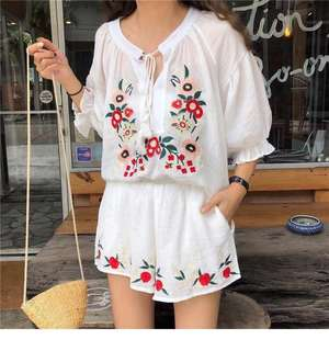 Floral Embroidered Co Ord