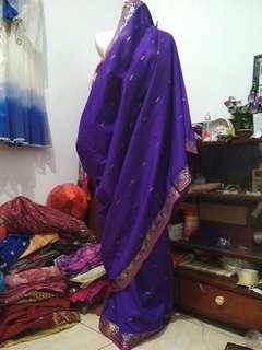 Kain saree katun ungu terong