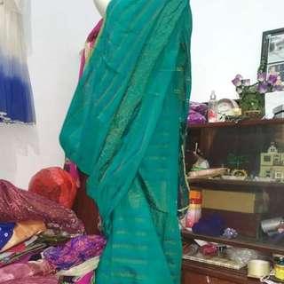 Kain saree katun hijau