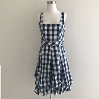 Dorothy Perkins plaid dress black and white