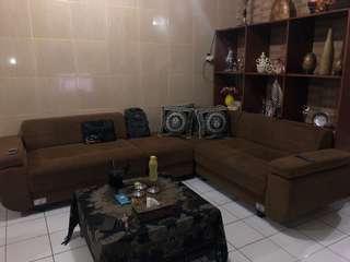 Sofa + rak kayu set
