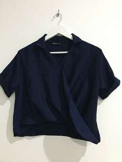 Navy Twist Blouse (Noonaku Signature)