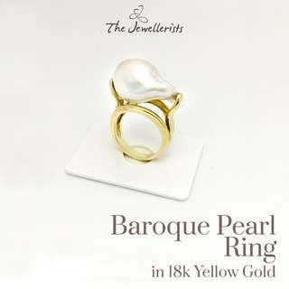 Baroque Pearl Ring in Gorgeous 18k Yellow Gold