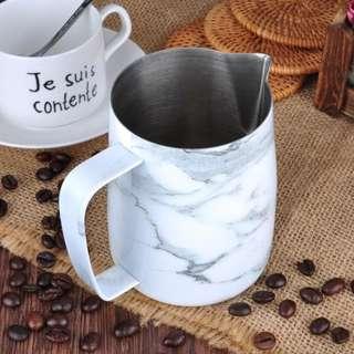 Latte Art Pitcher - Stainless Steel Marble Design 350ml