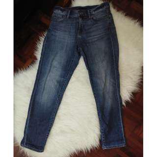 [BN] Uniqlo Ankle Grazer Boyfriend Mom Denim Cutoff Cuff True Blue Wash Jeans Pants Trousers