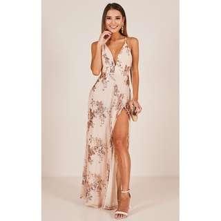 [PO] Sequin Slit Maxi Dress