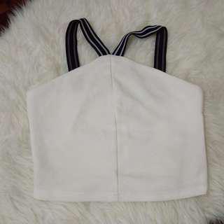 [BN] Kitschen Ribbed Racerback Ribbed Textured Striped Strappy Turtleneck Halterneck Mockneck High Neck Sleeveless Blouse Shirt Top