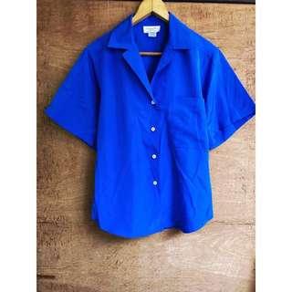 外國古著 Christian Dior正品飽和寶藍色襯衫