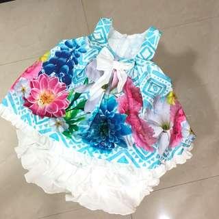 🚚 歐美購入 產地希臘 8成新 歡迎議價  無袖印花套裝 9M