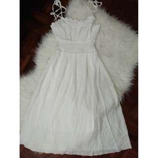 [BN] Bridesmaid Garden Wedding Reception Party Floral Lace Crochet Embroidery Sleeveless Tie Ribbon Straps White Linen Chiffon Airy Girly Feminine Korea