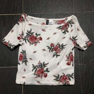 H&M ribbed Floral TOP