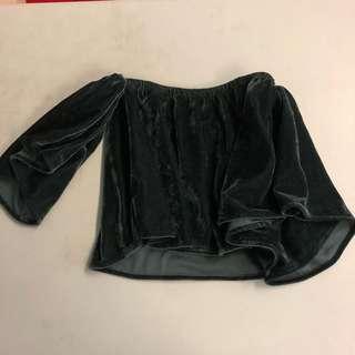 Velvet suede off shoulder top