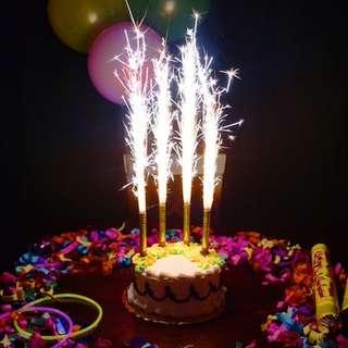 BIRTHDAY CAKE CANDLE SPARKLER FIREWORKS CHILDREN DECORATIO