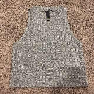 Factorie crop halter knitted top