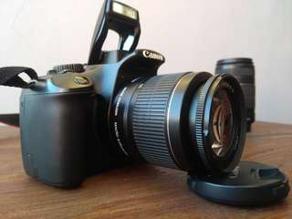 Kamera Canon DSLR 1100D + Lensa tele 55-250mm