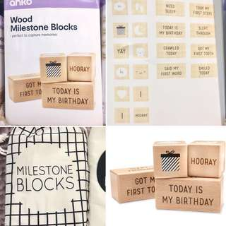 Australia baby milestone wooden blocks home deco nursery bed crib emotions