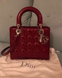 Lady Dior Patent Wine Red 100% Authentic