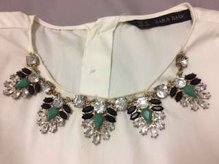 Zara white shirt with attached collared necklace