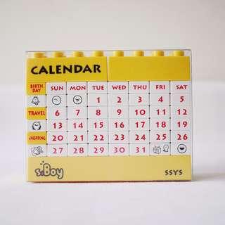 🚚 黃白色月曆積木玩具樂高玩具可自行拼月份日期辦公室小物
