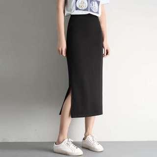 [全新]側開叉包臀裙 顯瘦 高腰 中長款