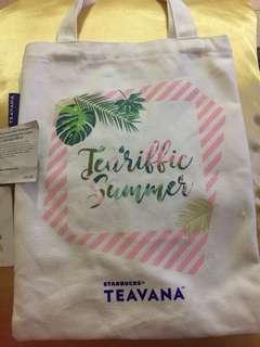 Starbucks teavana tote bag+ 釘扣+中杯升級優惠券(限利園3期)
