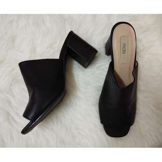 MDS Black Block Chunky Platform Slip On Mule Zalora Heels Shoes