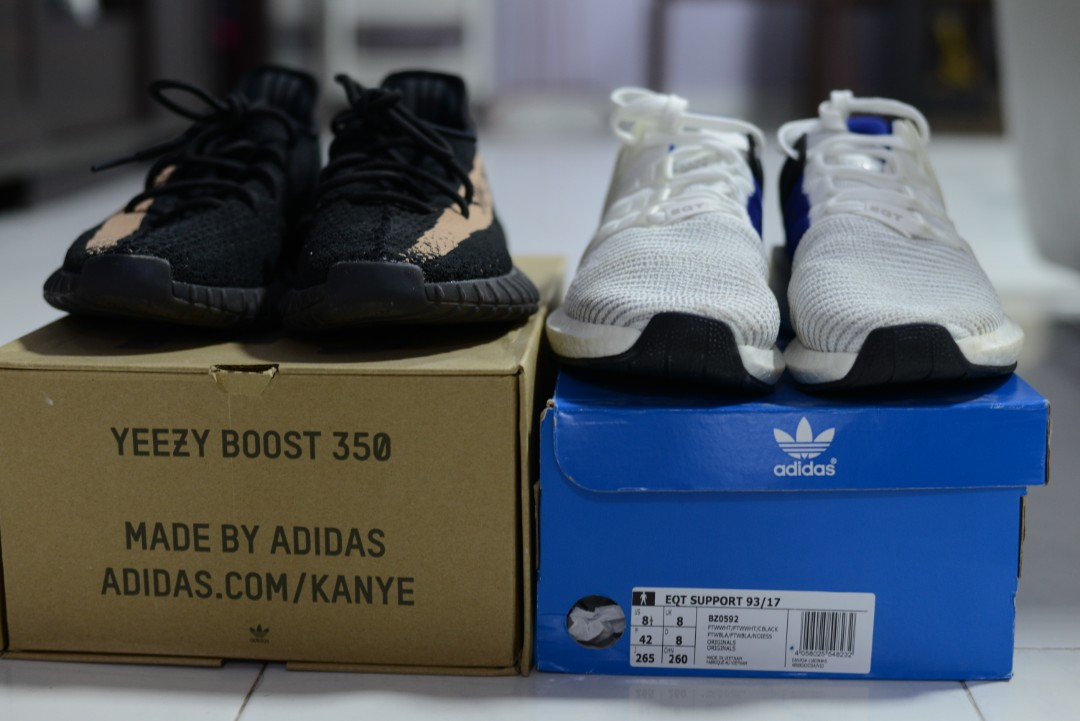 size 40 62cba 2f722 Adidas Eqt 9317  Yeezy 350 v2 copper UA, Mens Fashion, Footwear,  Sneakers on Carousell