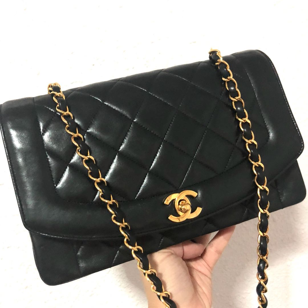 d3e52353123c Authentic Chanel 10 inch Diana Flap with 24k Gold hardware, Luxury ...