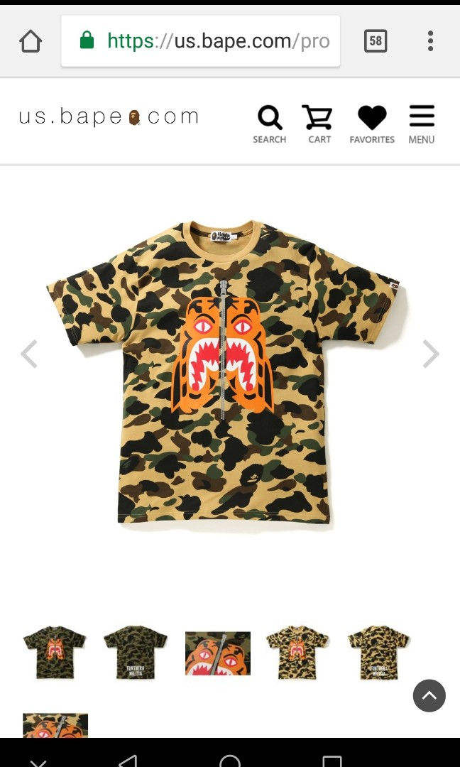 57339dd1b BAPE CAMO TIGER TEE MEN, Men's Fashion, Clothes, Tops on Carousell