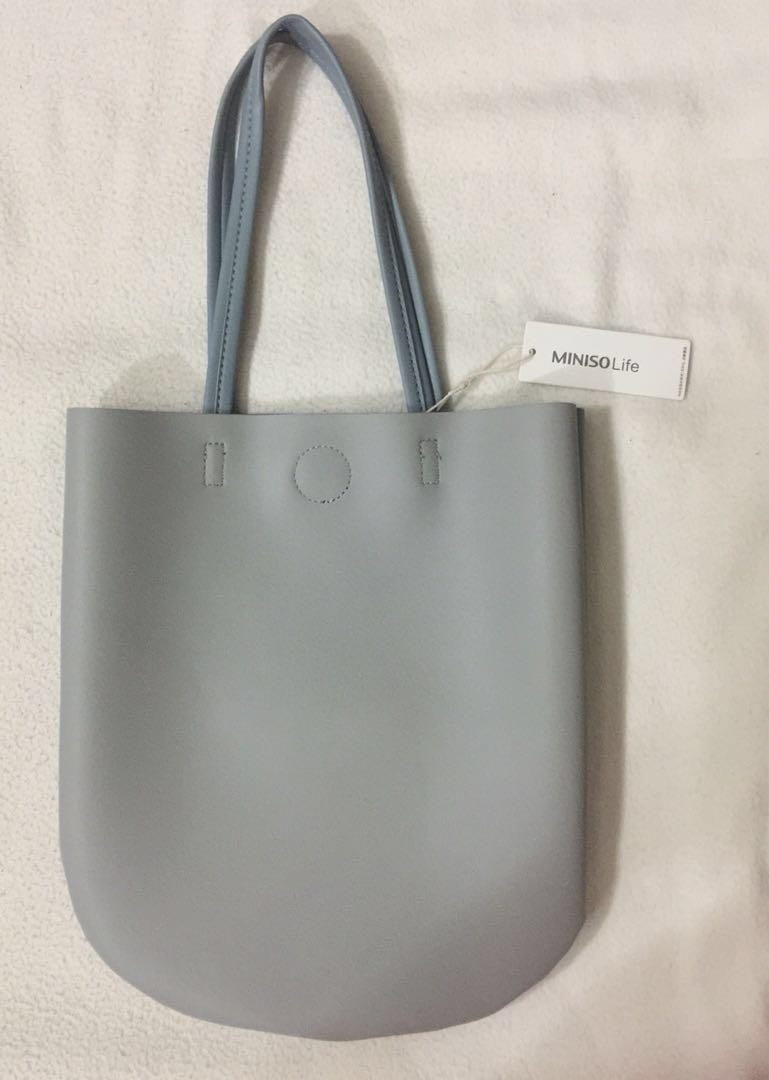 BNWT Miniso Life Twice Colour Leather Tote Bag