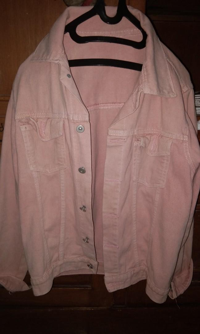 Denim jacket oversize baby pink