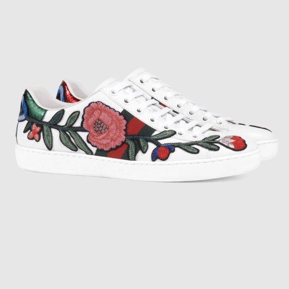 2178b3b8a Gucci Embroidered Floral Sneakers, Women's Fashion, Shoes, Sneakers ...