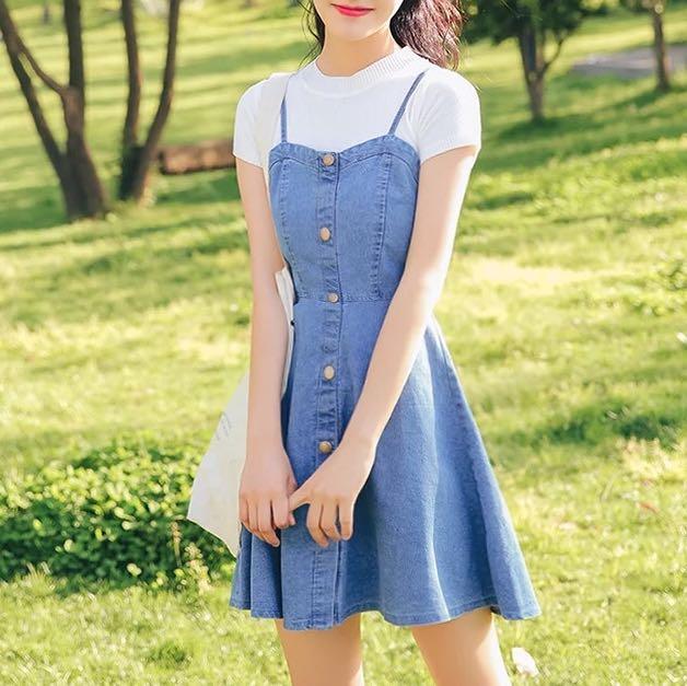 4567f5f6c7e Light blue Denim dress button up a-line skirt acid wash office work ...