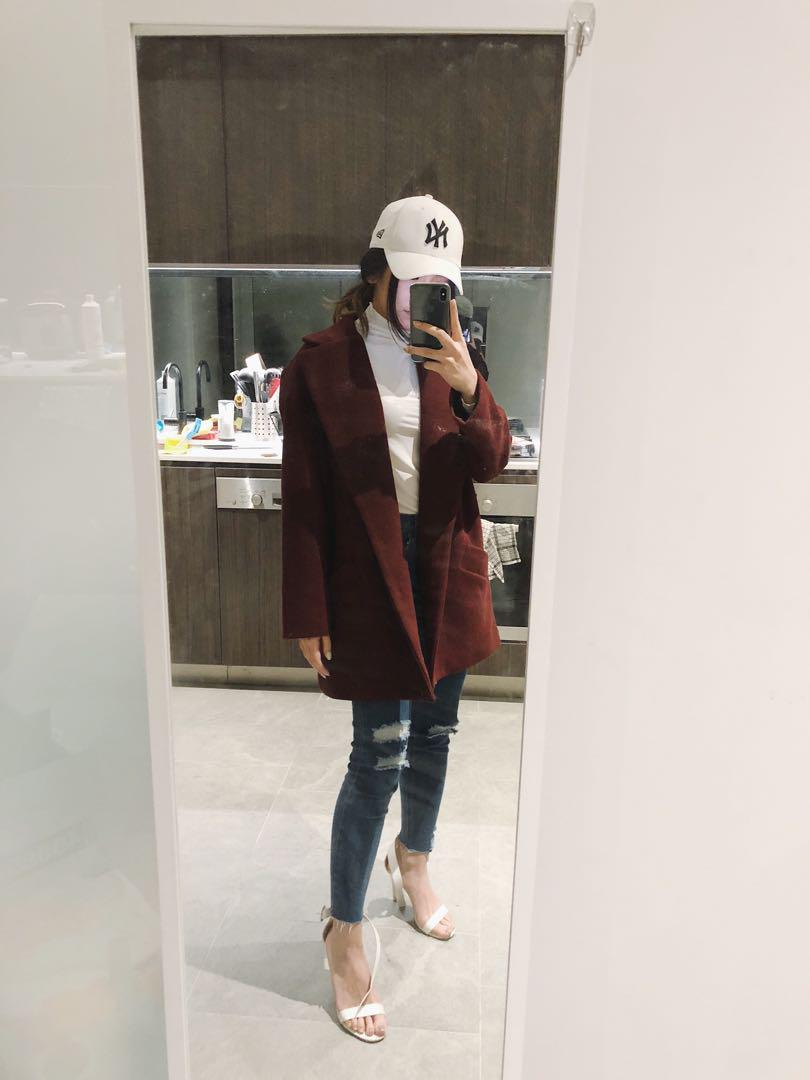 Maroon Oversized Coat