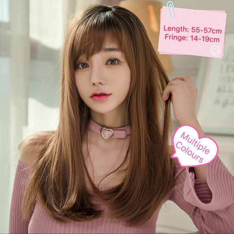 Pre Order Korean Style Synthetic Wig With False Scalp Long