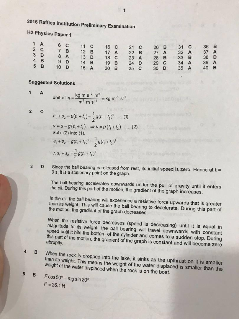 Raffles/RI/RJC Physics Exam Papers With Solutions , Books