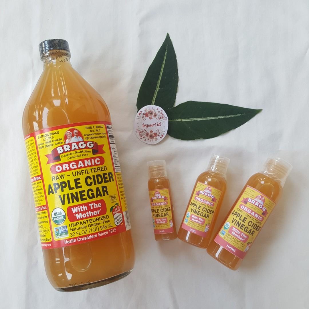 [SHARE in bottle 30ml/60ml/100ml] BRAGG Apple Cider Vinegar MURNI (Cuka Apel), Health & Beauty, Skin, Bath, & Body on Carousell