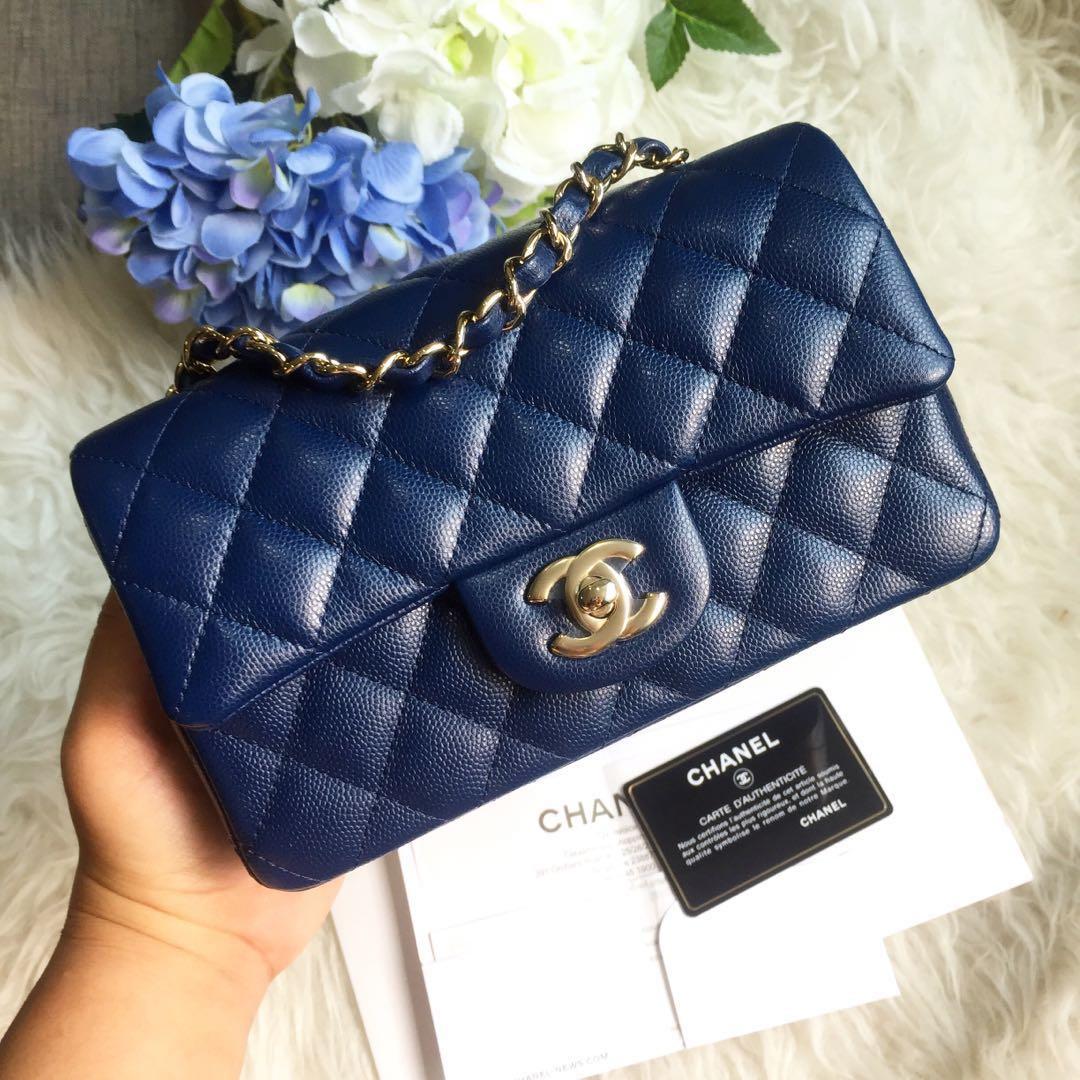 4b8722f05209 ❌SOLD❌ Chanel Mini Rectangle Classic Flap in Navy Blue Caviar GHW ...