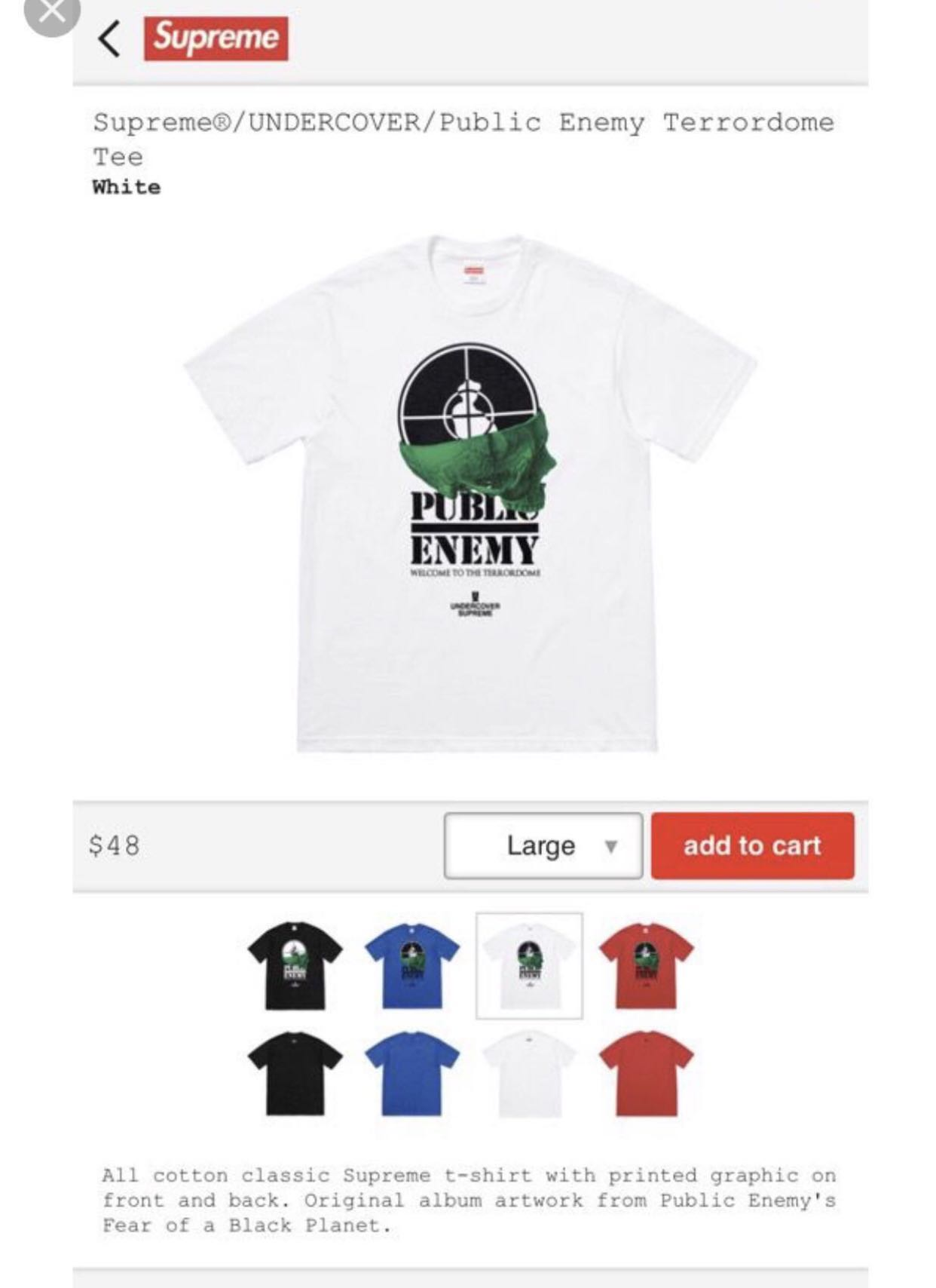 01baf840dfd4 Supreme Undercover Public Enemy Terrordome Tee Shirt, Men's Fashion, Clothes,  Tops on Carousell