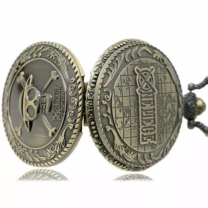 Vintage Bronze Pirate Skull Luffy One Piece Quartz Pocket Watch