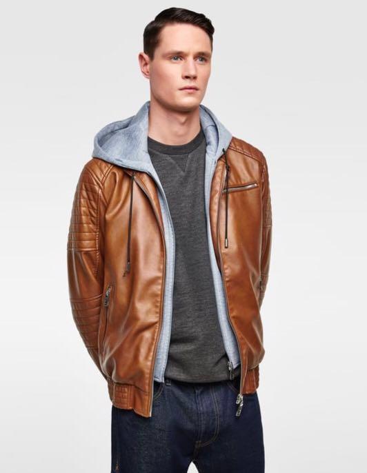 Zara Men Biker Jacket Brown Men S Fashion Clothes Outerwear On
