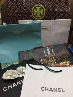 Chanel,Miu Miu,D&G,Tory Burch paper bags