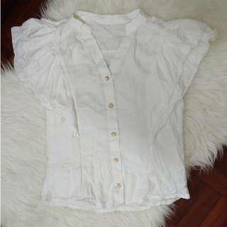 Pristine White Light Cotton Short Sleeve Ruffle Puffy Poufy Victorian Vintage Blouse Top Shirt Pearl Korean