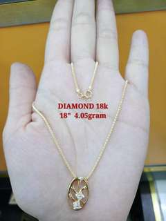 Gold Necklace with Diamond