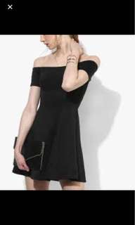 F21 black off-shoulder skater dress