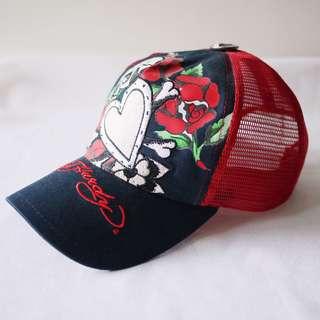 🚚 Ed Hardy黑紅配色骷顱頭玫瑰刺繡線造型帽子網帽男女適用
