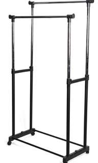 Durable and Adjustable Double Rod Garment Rack
