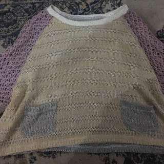 sweater crop rajut