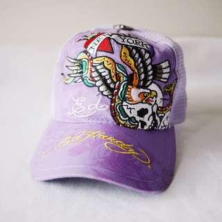 🚚 Ed Hardy紫色彩色骷顱頭龍鳳刺繡線造型帽子網帽男女適用